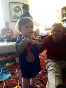 Gracie with Pop and Medal
