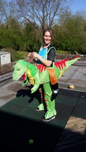 Kate London Marathon T-rex outfit